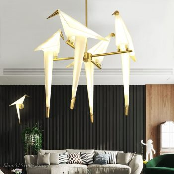 Nordic Gold Bird Cage Pendant Light For The Living Room Bedroom - Origami Bird Light Kitchen Hanging Lamp Dining Room Lights