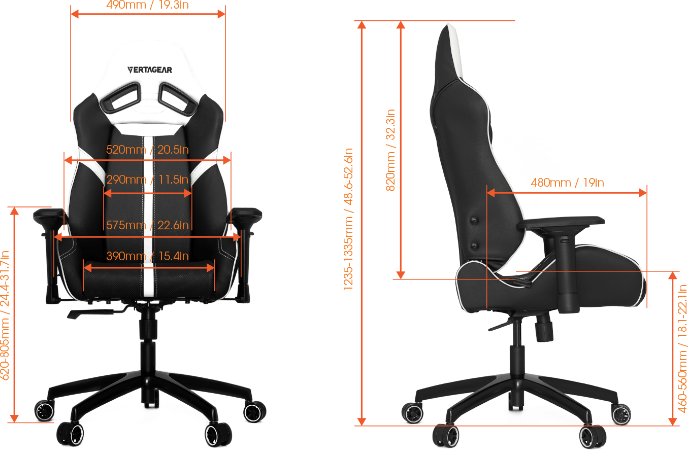Vertagear SL5000 Specifications & size guide