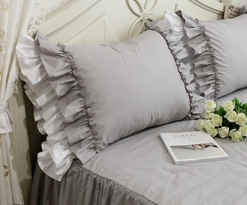 2pcs Handmade Luxury Grey  Ruffle Lace Pillowcase - Premium Quality 100% Cotton Bedding Pillow Cases Best Children's Lighting & Home Decor Online Store