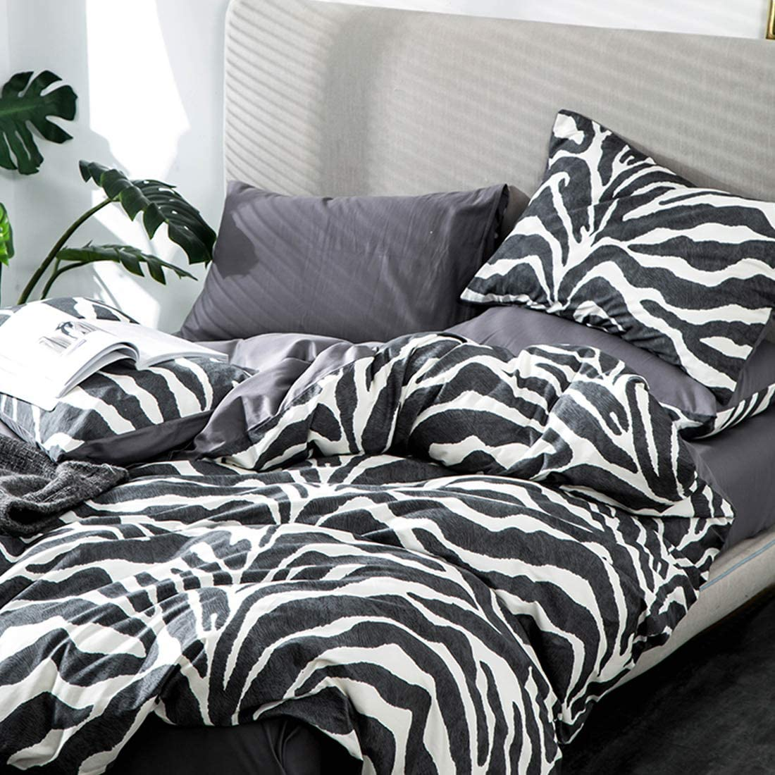 100% Cotton Marble Print Bedding Set With 1 Duvet Cover + 2 Pillowcases