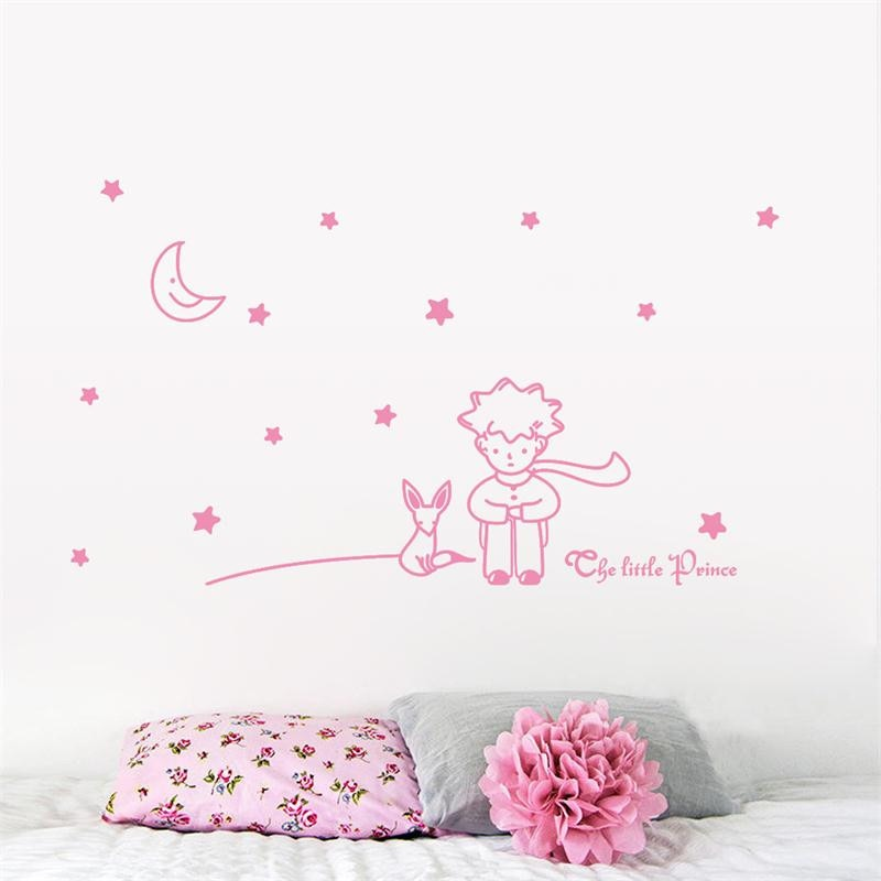 The Little Prince With The Fox, Moon & Stars - Wall Decal For Kids room Decor Best Children's Lighting & Home Decor Online Store