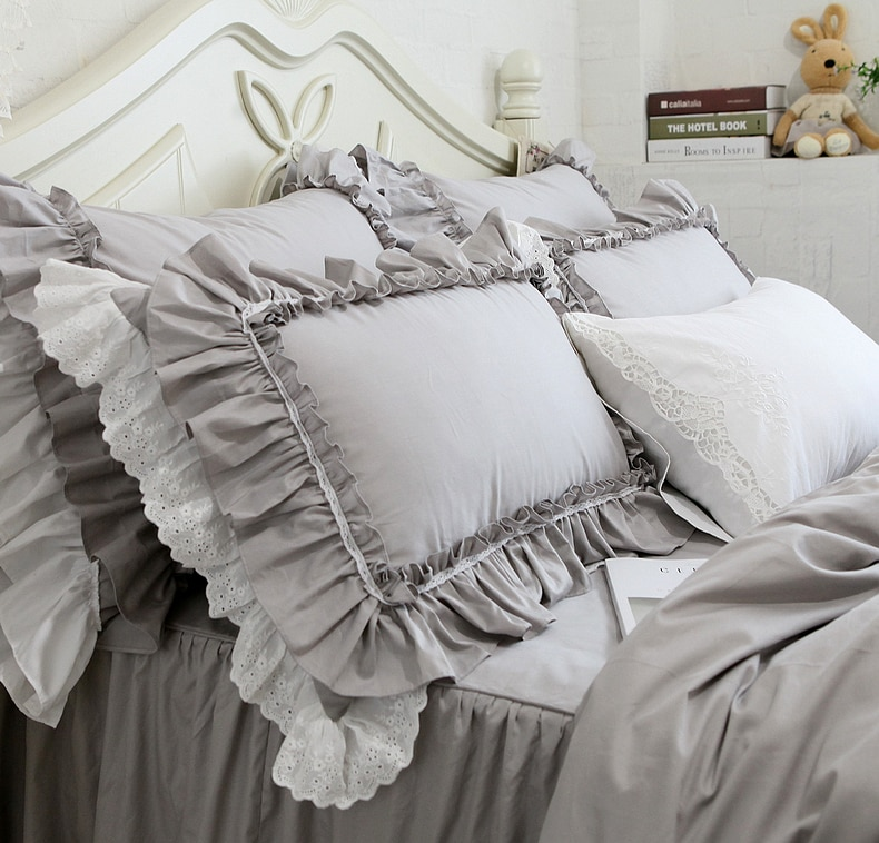 2pcs Pillow Case European Grey Luxury Embroidered Big Lace Ruffle pillowcase - Handmade Lace Pillow Cases Best Children's Lighting & Home Decor Online Store