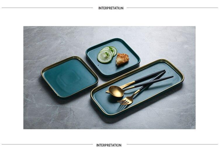 Rectangular Matte Green Gold Ceramic Plate