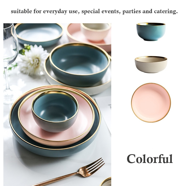 Nordic Gold Rim Ceramic Porcelain Plates Best Children's Lighting & Home Decor Online Store
