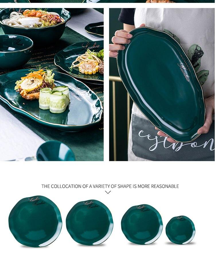 Nordic Luxury Green Gold Ceramic Plate - Salad Plate/Dessert Plate