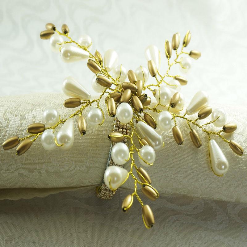 Pearl Flower Napkin Rings - Beaded wedding napkin holder - 12 pieces Napkin Rings Best Children's Lighting & Home Decor Online Store