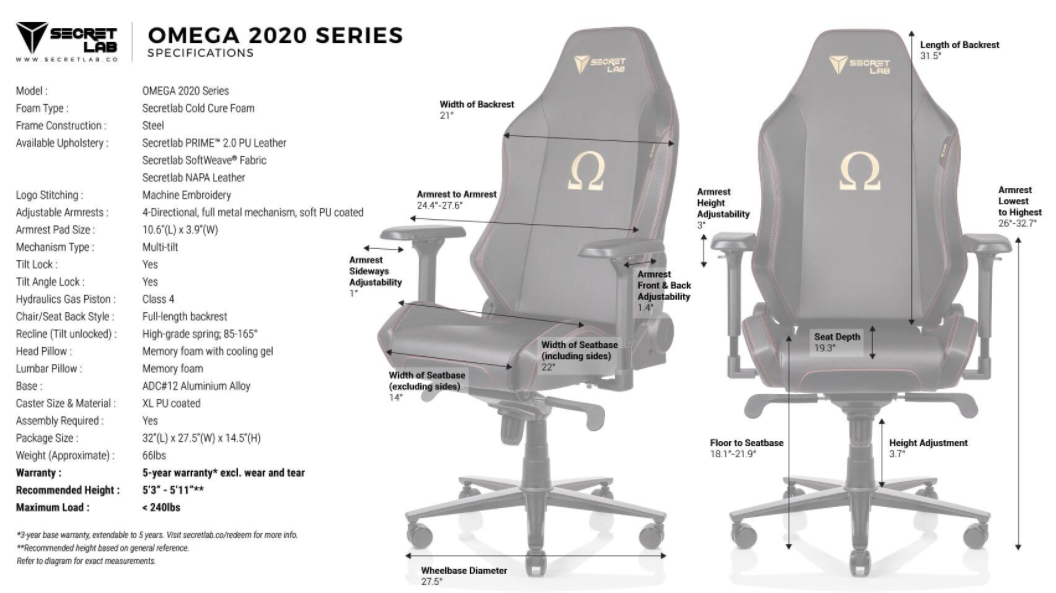 Secretlab Omega 2020 size and specifications
