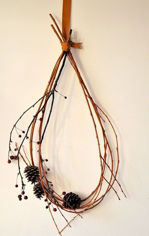 a simple and all-natural fall decoration - a twig or branch wreath with berries and pinecones is very easy and fast to make