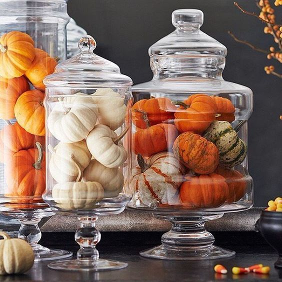natural pumpkins in jars with lids are a nice and veyr easy fall decoration to go for