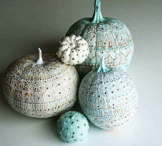 breathtaking blue and white painted pumpkins with beads and spikes are whimsy, cool and bold