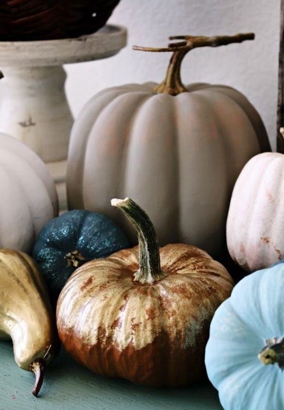 natural pumpkins painted in non-typical for the fall colors - blue, blush, grey, navy and gold