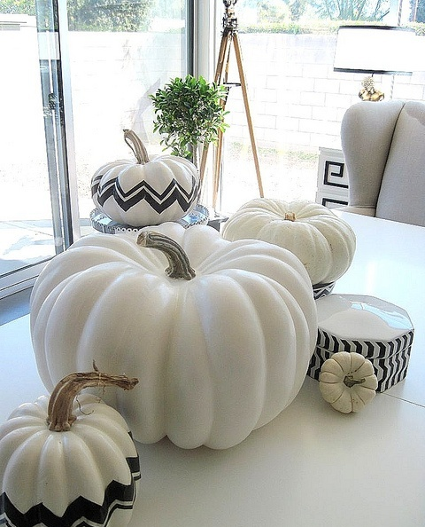 modern white and black and white pumpkins with geometric patterns can be DIYed using a sharpie