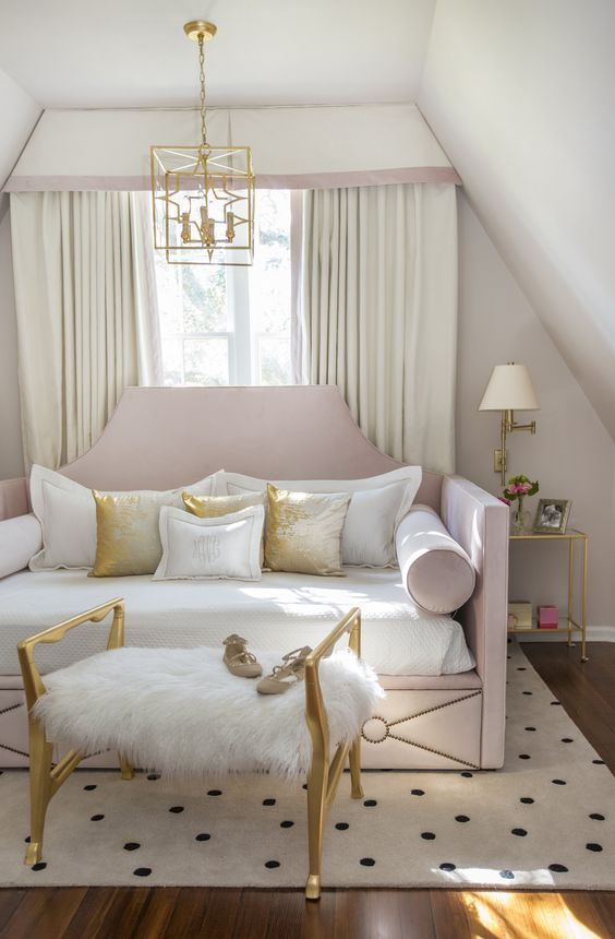 a cute glam white faux fur bench in gold is a stylish and chic piece to add to a feminine space
