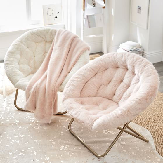 cozy pink and white faux fur chairs will complete your space perfectly and make it very cozy and welcoming