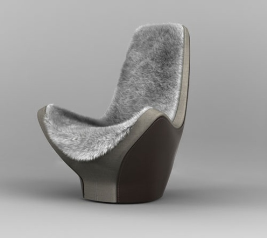 a modern sculptural chair with a matching fur cover on the back and seat is ultimate for having a rest in the evening