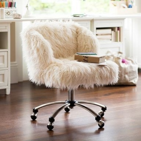 a white faux fur chair on casters is a timeless idea for a modern space, it's a cool and stylish idea that matches many spaces