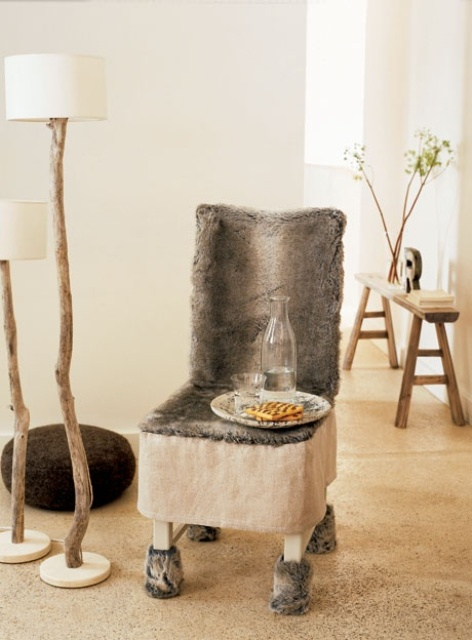 a chair with a faux fur cover is a stylish idea for a rustic interior or just to add a rustic feel to the space