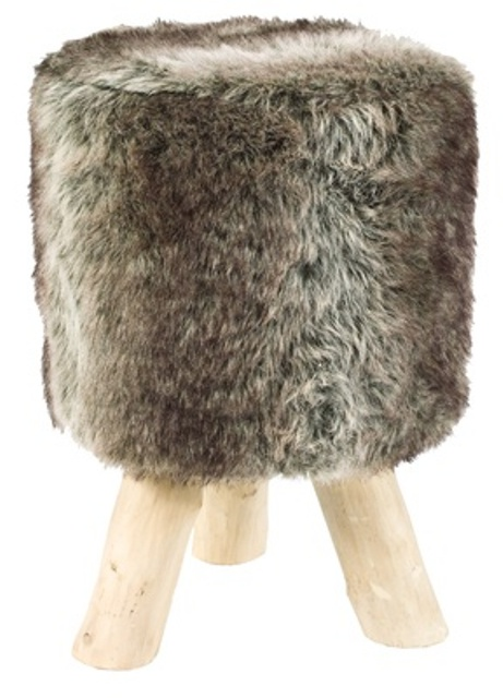 a simple faux fur stool - if you don't have it, you may add a cover to your existing one to make it cozy