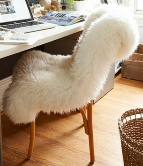 cover your usual chair with some fur to make it fall and winter ready and to make it softer and cozier