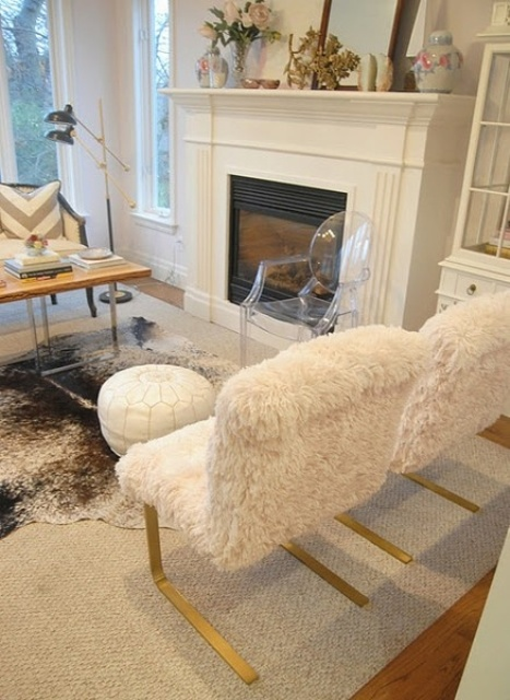 cozy white faux fur chairs with gold legs are lovely for decorating your interior and make it glam and chic