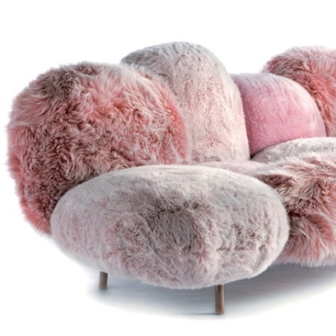 a pink faux fur sofa is a beautiful idea for a modern glam space, it brings a touch of lovely color and texture
