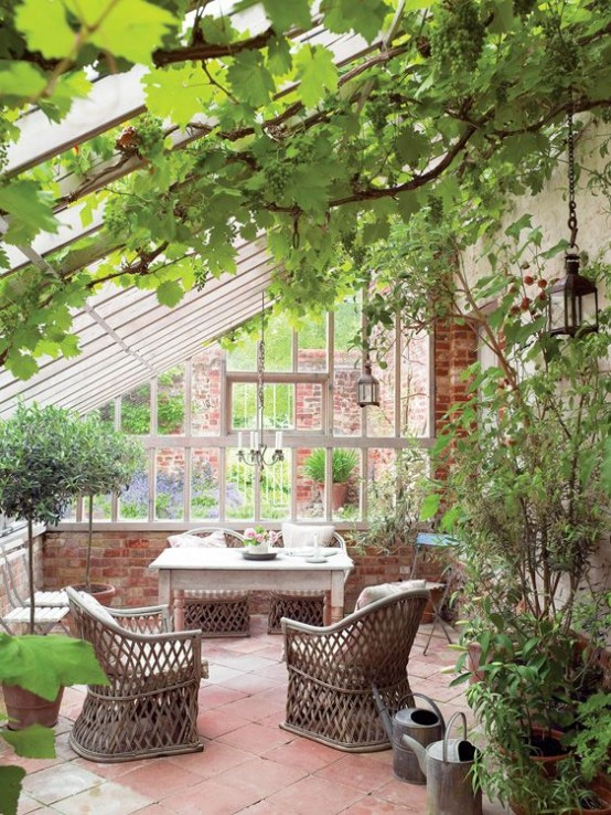 a vintage rustic sunroom with lots of greenery in pots and climbing ones, rattan and wooden furniture