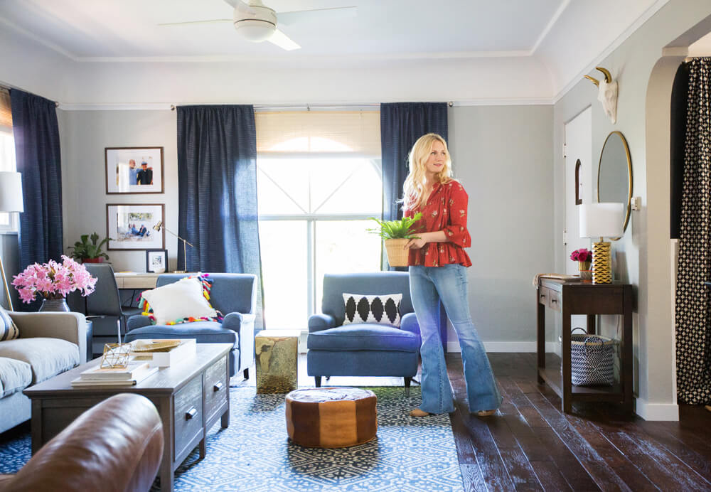 Emily Henderson_Target_Makeover_Nanny Suprise_Happy_Modern_Traditional_Eclectic_Makeover_Blue_Pink_Living Room_19