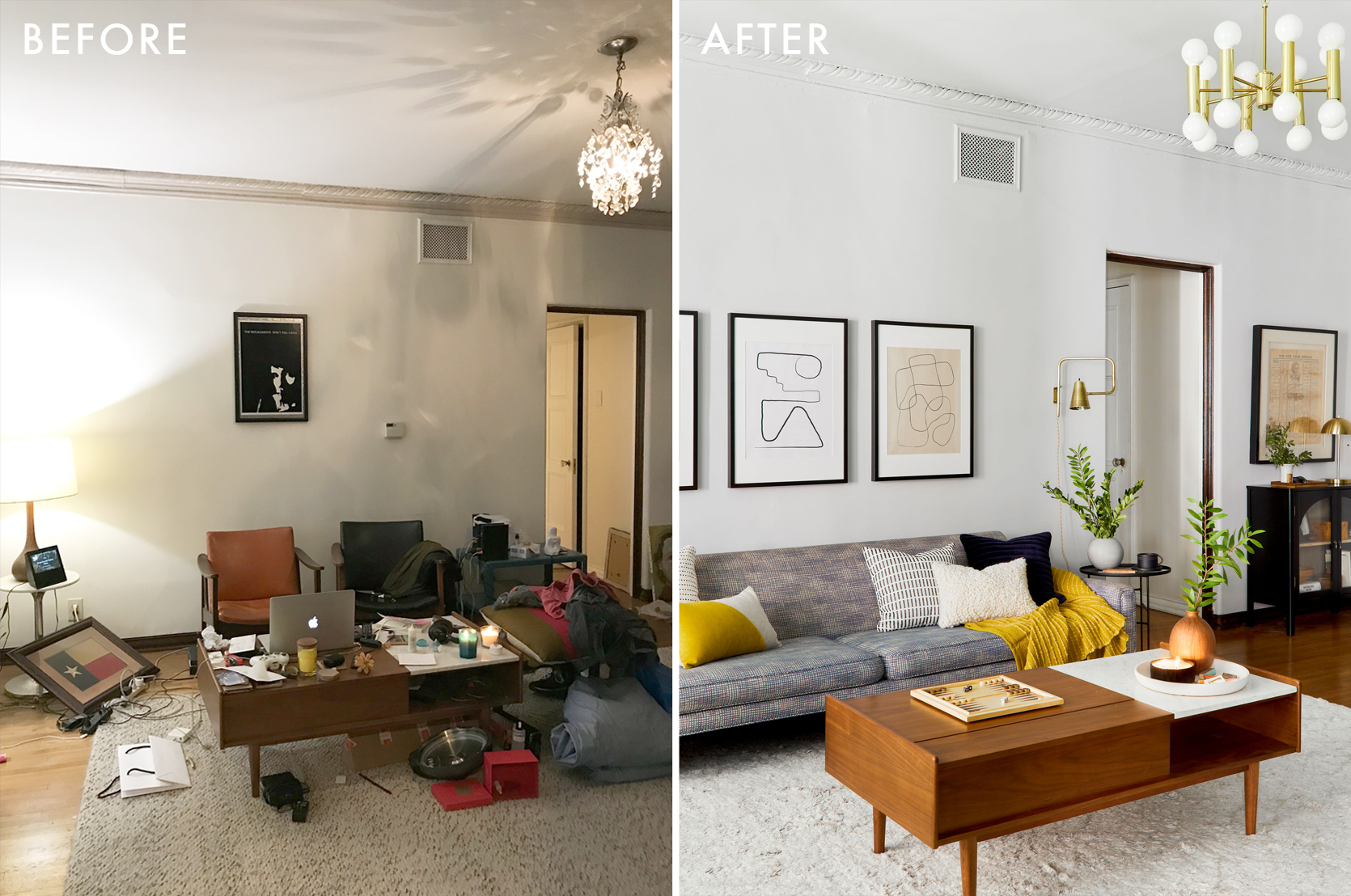 A Mid-Century Eclectic Living Room with Kilz Primer and Paint - The Dark Room Problem SOLVED Best Children's Lighting & Home Decor Online Store