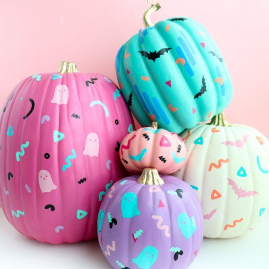 purple, pink, turquoise and neutral pumpkins with fun patterns on them are amazing for Halloween