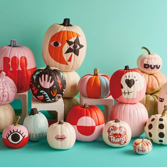 fun colorful Halloween pumpkins with various patterns, words, eyes and lips are fantastic