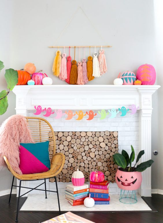 bright oversized tassel ghosts, colorful paper ghosts, color block pumpkins and patterns