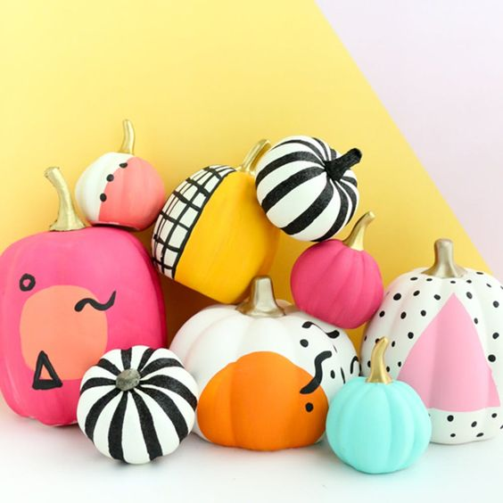 80s Halloween party pumpkins with bright patterns are amazing for Halloween decor