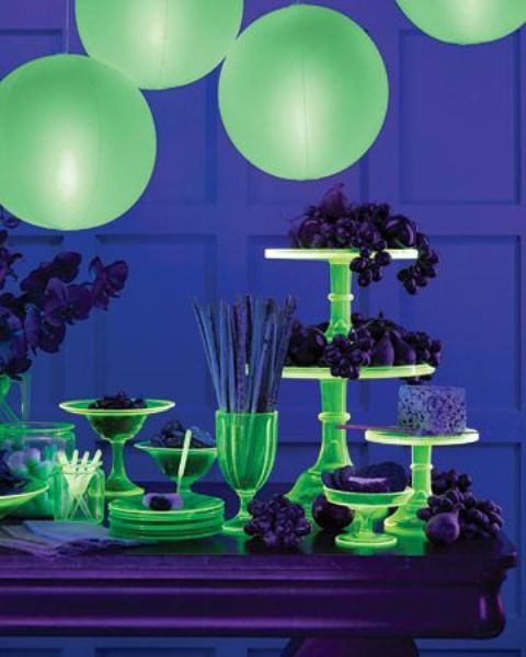 bold neon green dessert table styling with bright stands, bowls, trays and balloons over the table