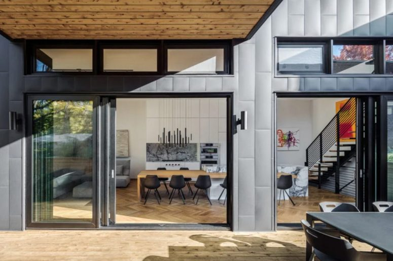 This space can be completely opened to outdoors with sliding doors