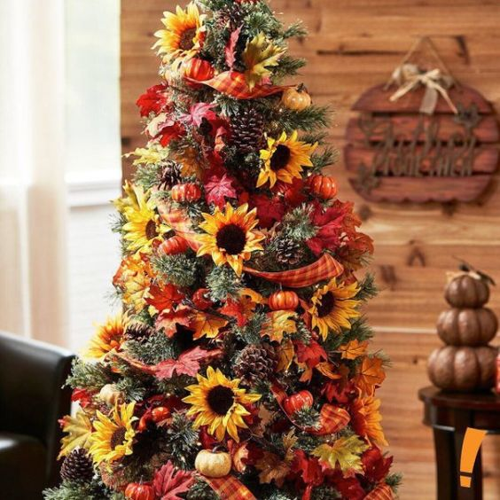 a bright Thanksgiving tree with pinecones, mini pumpkins, plaid ribbons, bright faux leaves and sunflowers