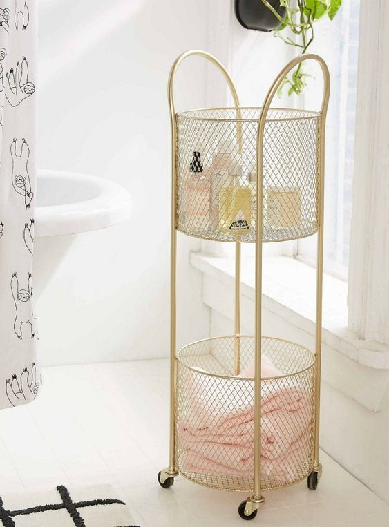a refined gold net rolling cart is a lovely idea for a romantic or just girlish bathroom
