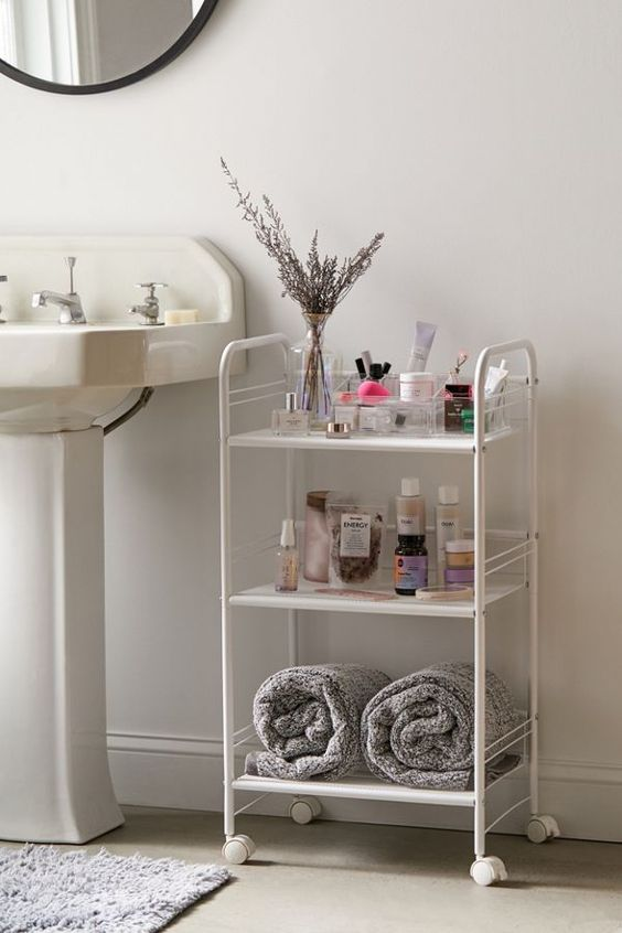 a stylish three-tier rolling cart will fit both a modern and vintage bathroom giving you storage space