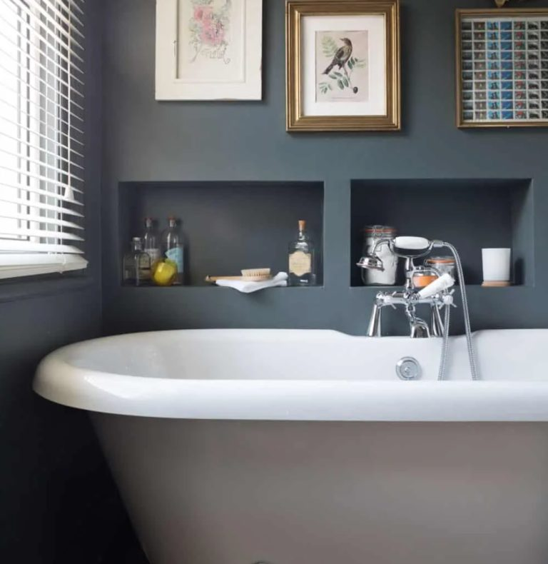 built-in box-shaped shelves over the tub can hold everything you may need and won't take any floor space
