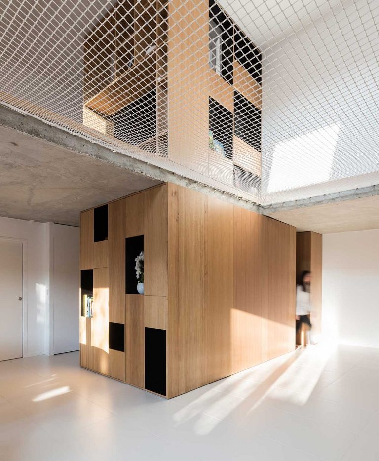 This cuzt is done of the main pieces in the house, it shows off some built-in storage spaces