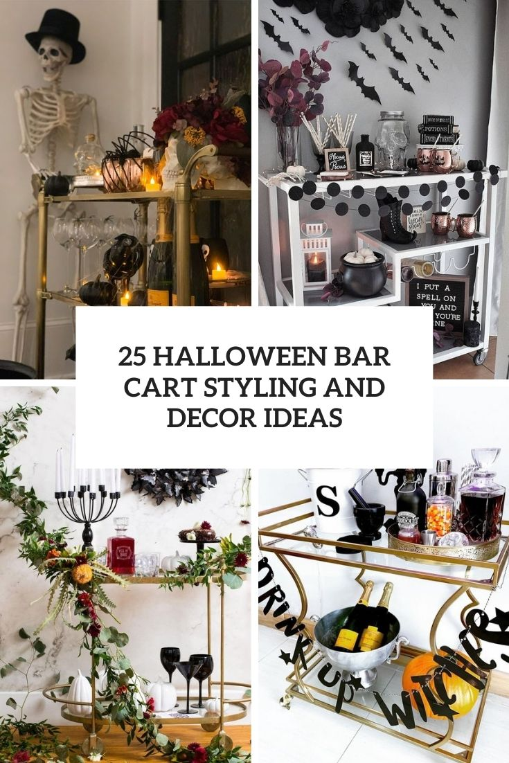 halloween bar cart styling and decor ideas cover