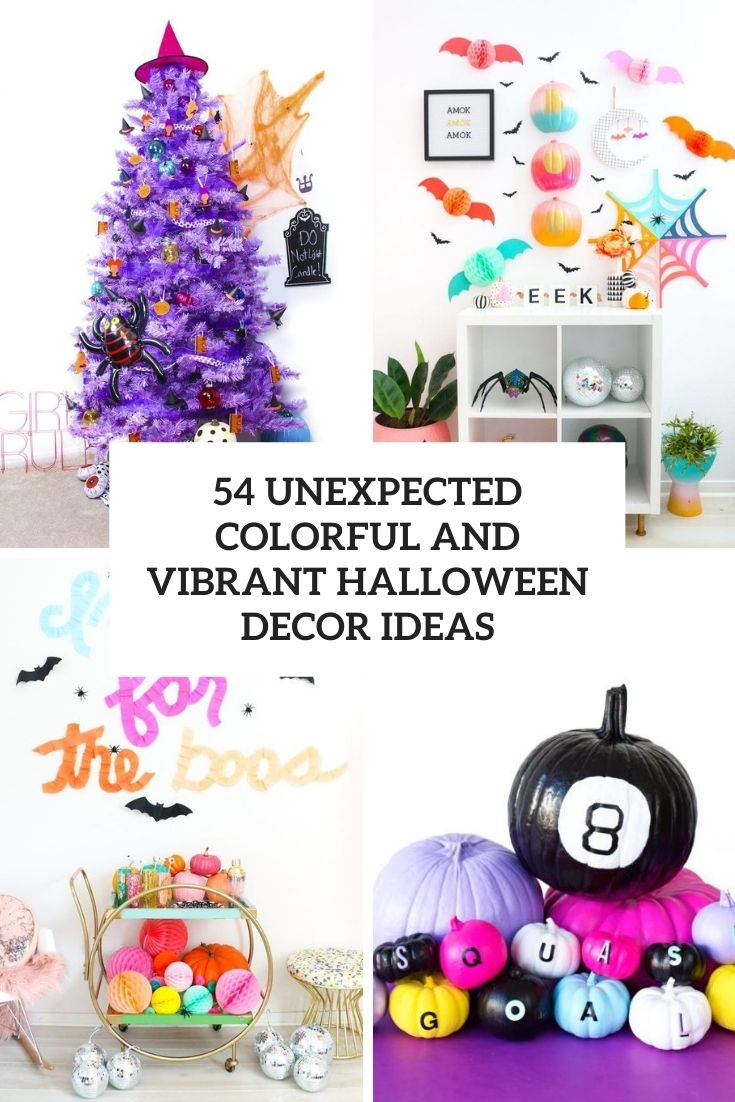 unexpected colorful and vibrant halloween decor ideas cover