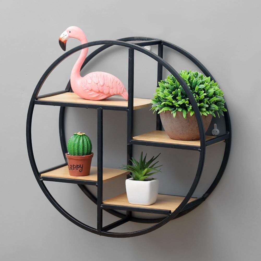 Modern Round Wooden Wall Mount Shelf Rack Flower Planter/Book Storage - Wall decor Best Children's Lighting & Home Decor Online Store