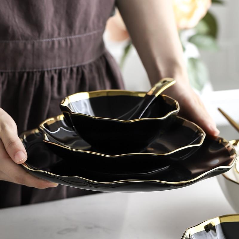 Luxury White Black Gold Rim Ceramic Dinner Plate Best Children's Lighting & Home Decor Online Store