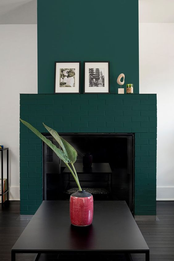 a fantastic teal brick fireplace spruces up a monochromatic room making it bolder and catchier and adds color to it