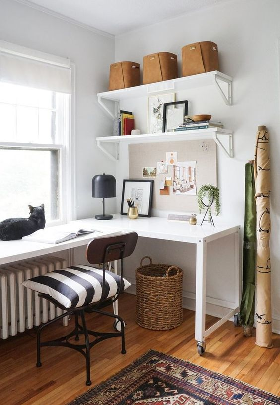 a stylish mid-century modern home office with a white corner desk, a black industrial chair and open shelves is chic