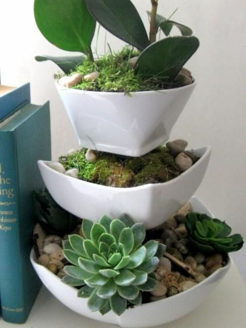 a tiered planter with pebbles and succulents is a stylish and modern idea to go for