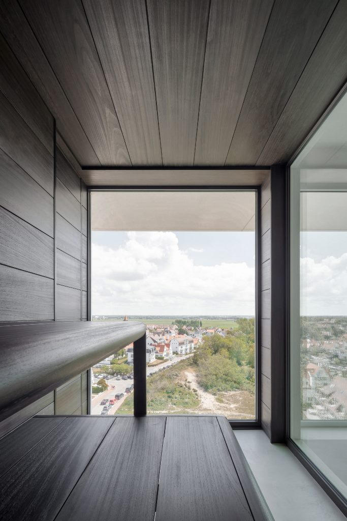 The apartment also includes a sauna that has views of the outdoors