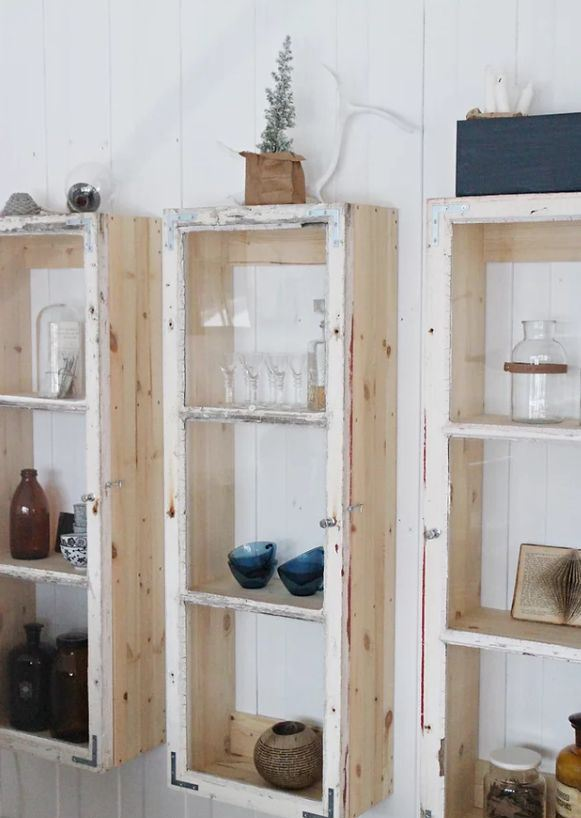 old window frames repurposed into stylish rustic cabinets that you may hang on the wall anywhere you want