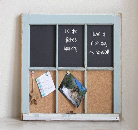 a memo board made of an old window frame, some cork boards and chalkboards is a cool idea for a rustic space