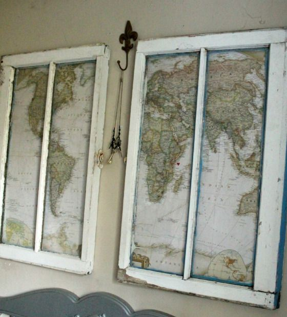 maps in old window frames are catchy and cool artworks to hang in your shabby chic or vintage bedroom